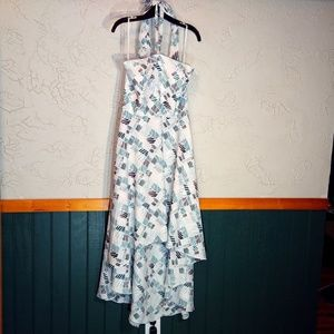 Hi-Lo Halter Style Dress with teal tan pattern